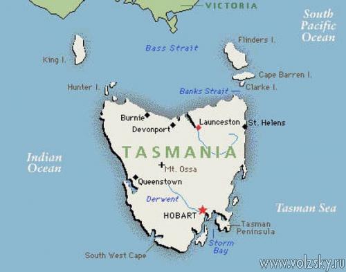 Где находится острова тасмания на карте